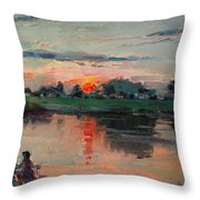 Enjoying The Sunset By Elmer's Pond Throw Pillow