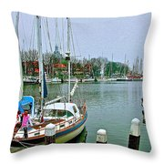 Enkhuizen Marina-netherlands Throw Pillow