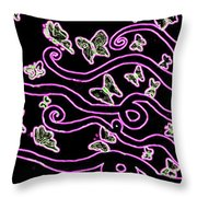 Enlighted Silhouette With Butterflies Throw Pillow