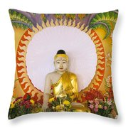 Enlightened Buddha Sitting Under The Bodhi Tree Throw Pillow