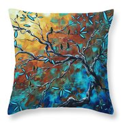 Enormous Abstract Bird Art Original Painting Where The Heart Is By Madart Throw Pillow