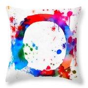 Enso Circle Paint Splatter Throw Pillow