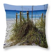 Enter The Beach Throw Pillow by Susan Leggett