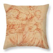 Enthroned Madonna And Child Throw Pillow