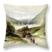Entrance And Exit To Nablus Shechem Throw Pillow
