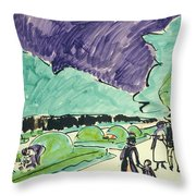 Entrance To A Large Garden In Dresden Throw Pillow by Ernst Ludwig Kirchner