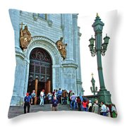 Entrance To Christ The Savior Cathedral In Moscow-russia Throw Pillow