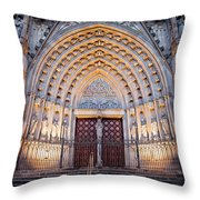 Entrance To The Barcelona Cathedral At Night Throw Pillow