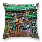 Entry Gate To Chinatown In San Francisco-california Throw Pillow