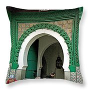 Entry To A Mosque For Men Only In Tangiers-morocco Throw Pillow