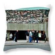 Entry To Church In The Rock In Helsinki-finland Throw Pillow