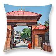 Entry To Pasupatinath Temple Of Cremation Complex In Kathmandu-nepal    Throw Pillow