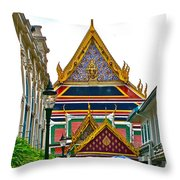 Entryway To Middle Court Of Grand Palace Of Thailand In Bangkok Throw Pillow