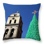 Environmentally Friendly Christmas Tree Throw Pillow