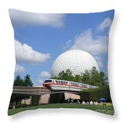 Epcot And The Monorail Ride Throw Pillow