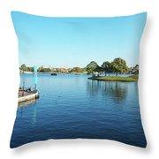 Epcot World Showcase Lagoon Panorama 05 Walt Disney World Throw Pillow