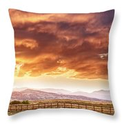 Epic Colorado Country Sunset Landscape Panorama Throw Pillow