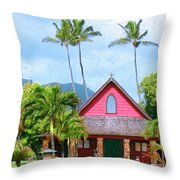 Episcopal Church In Kapaa Throw Pillow