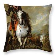 Equestrian Portrait Of Prince Eugene De Savoie 1663-1736 C.1700-10 Oil On Panel Throw Pillow