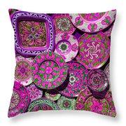 Erice Sicily Plates Pink Throw Pillow