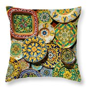 Erice Sicily Plates Yellow Throw Pillow