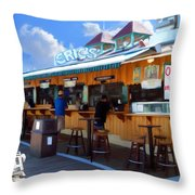 Erics On The Pier Throw Pillow by Snake Jagger