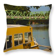 Erie Canal At Pittsford Ny Throw Pillow