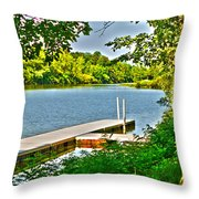 Erie Canal Dockage Throw Pillow