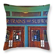 Erie Lackawanna Terminal Doors Hoboken Throw Pillow