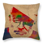 Ernest Hemingway Watercolor Portrait On Worn Distressed Canvas Throw Pillow