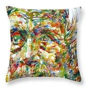 Ernst Junger Watercolor Portrait Throw Pillow