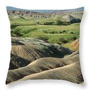 Eroded Landscape Badlands Np Throw Pillow