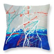 Erupting Blues Throw Pillow