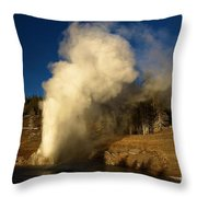 Eruption Along The Firehole Throw Pillow