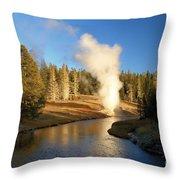Eruption Along The Riverside Throw Pillow