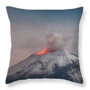 Eruption Of A Volcanoe At Night Throw Pillow