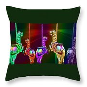 Escape Of The Carousel Horses Throw Pillow