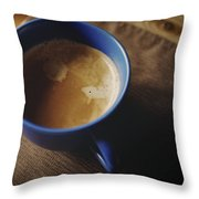 Espresso With Cream In Blue Porcelain Throw Pillow