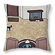 Essence Of Home - Black And White Cat In Living Room Throw Pillow