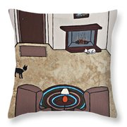 Essence Of Home - Cat By Fireplace Throw Pillow