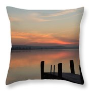 Essex Dock At Sunrise Throw Pillow