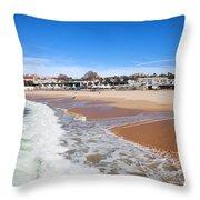Estoril Beach In Portugal Throw Pillow
