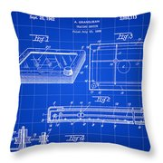 Etch A Sketch Patent 1959 - Blue Throw Pillow