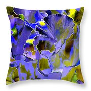 Etchings Of Purple And Green Throw Pillow