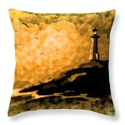 Ethereal Lighthouse Throw Pillow