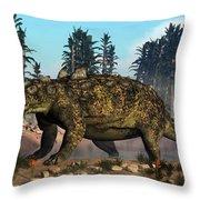 Euoplocephalus Dinosaur Grazing Throw Pillow