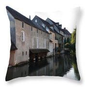 Eure River And Old Fulling Mills In Chartres Throw Pillow
