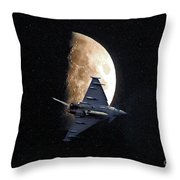 Eurofighter Against A Harvest Moon Throw Pillow by Peter McHallam
