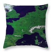 Europe From Above Throw Pillow