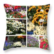 European Flower Market Collage Throw Pillow